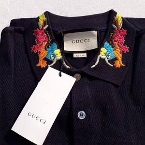 GUCCI NEW COLLAR AT DRAGON EMBROIDEREK MEN'S